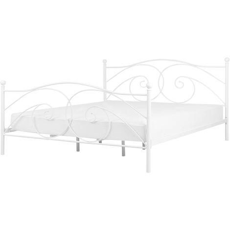 Retro EU Double Size Bed Frame 4ft6 Wrought Ornamental Metal White Dinard
