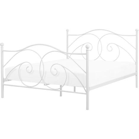 Retro EU King Size Bed Frame 5ft3 Wrought Ornamental Metal White Dinard