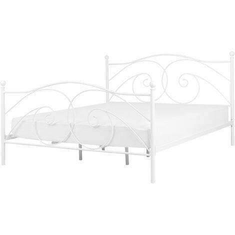 Retro EU Super King Size Bed Frame 6ft Wrought Ornamental Metal White Dinard