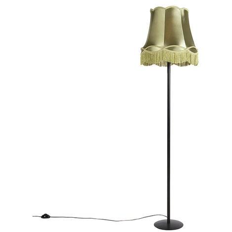 Retro Floor Lamp Black with 45cm Green Granny Frill Shade - Simplo