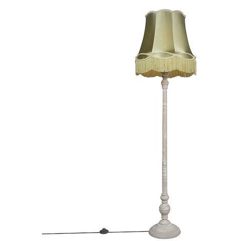 Retro floor lamp gray with green Granny shade - Classico