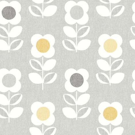 Retro Floral Wallpaper Arthouse Bright Flower Grey Yellow Feature Vintage Luxury