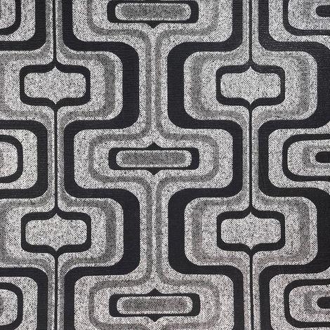 Retro Geometric Glitter Wallpaper Charcoal Grey Silver Vinyl Belgravia Decor
