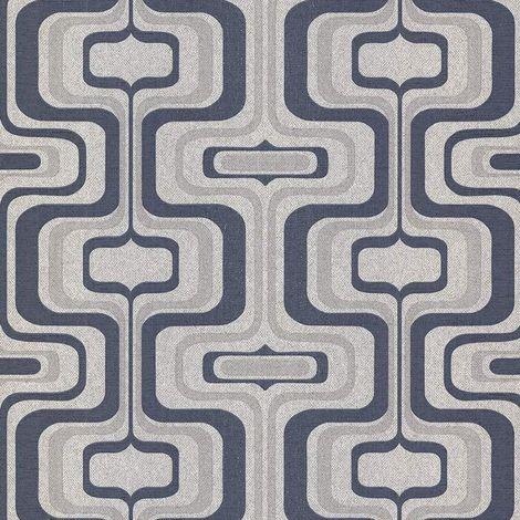 Retro Geometric Glitter Wallpaper Navy Blue Grey Silver Vinyl Belgravia Decor