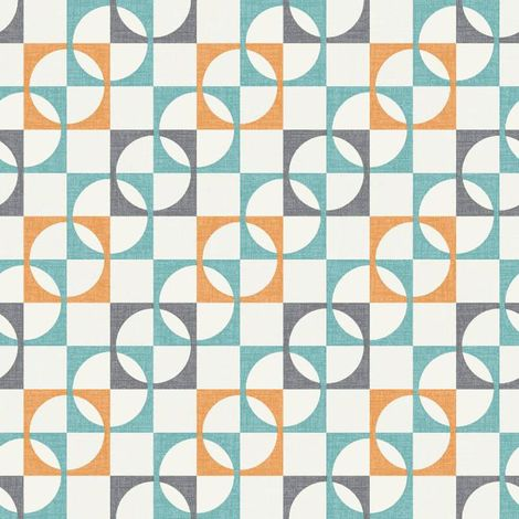 Retro Geometric Wallpaper Tiles Squares Circles Orange Charcoal Teal White Rasch