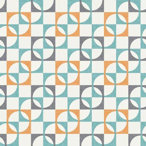 Retro Geometric Wallpaper Tiles Squares Circles Orange Charcoal Teal White Rasch