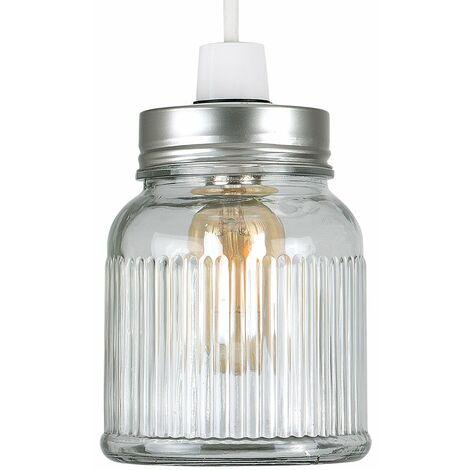 Retro & Glass Ribbed Pattern Jar Ceiling Pendant Light Shade