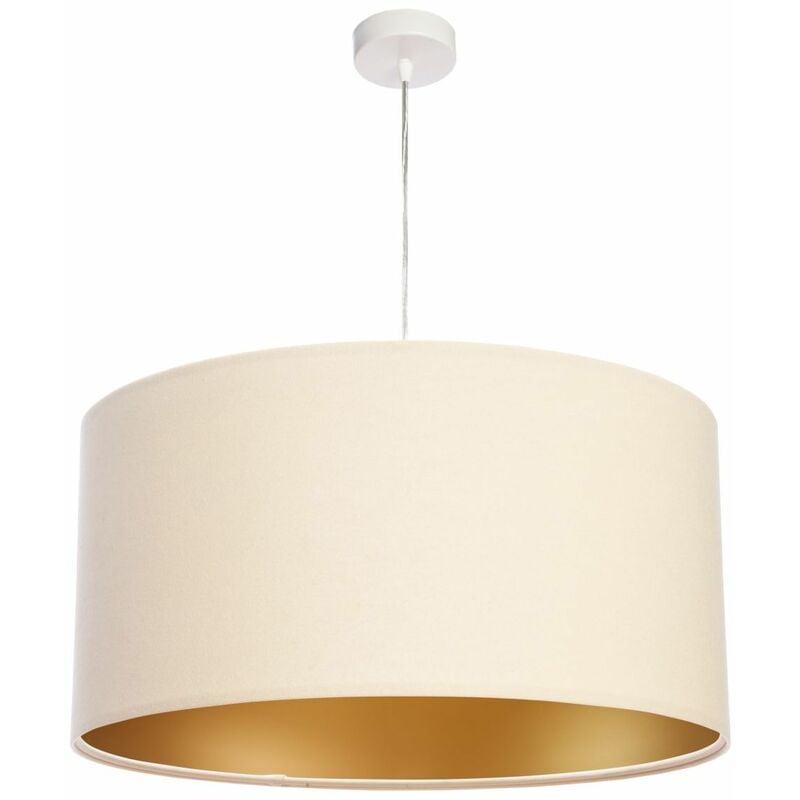 Retro Hängeleuchte runde Lampe für Esstisch Creme Gold