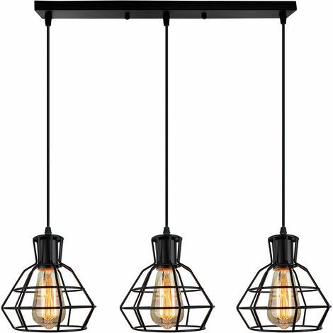 Retro Hanging Ceiling Light 3 Lights Industrial Hanging Pendant Light Metal Lampshade Cable Adjustable Drop light Fixture for Indoor Decoration Loft Bar and Kitchen Cafe Bedroom Black