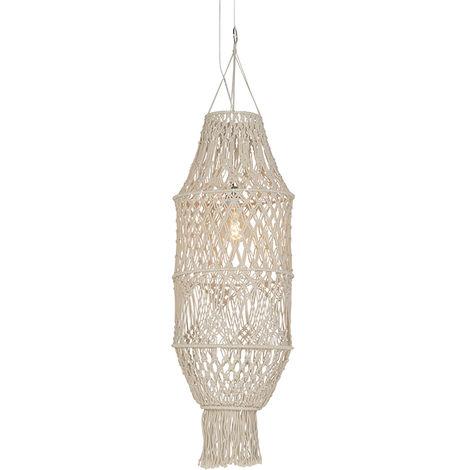 Retro hanging lamp with macramé shade 130 cm - String