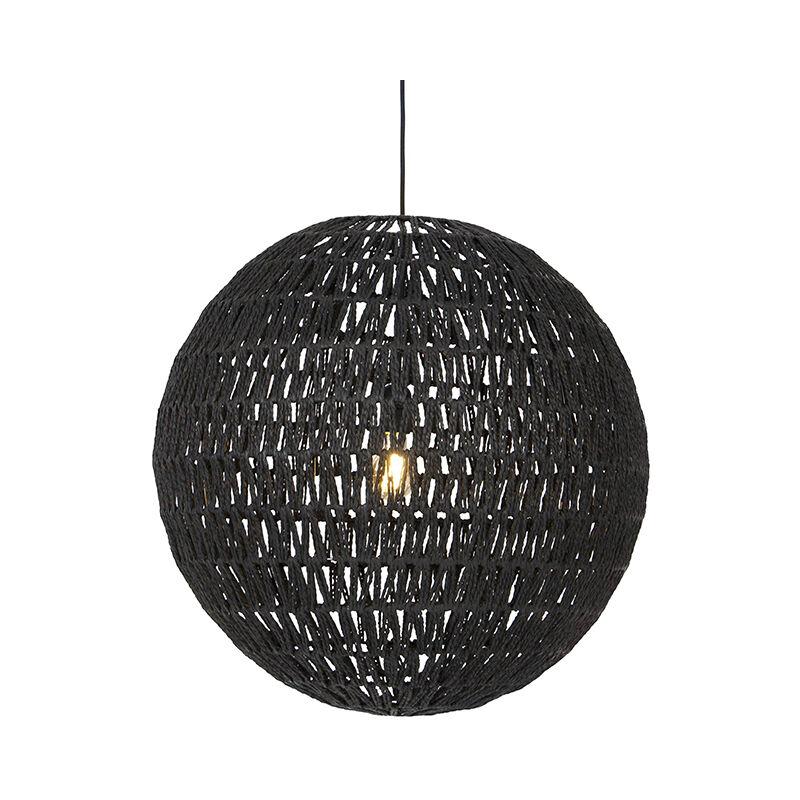 Qazqa - Retro Hängelampe schwarz 60 cm - Lina Ball