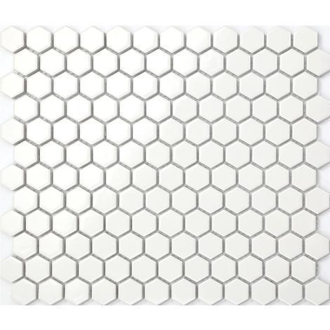 Retro Hexagon Struktur Keramik Mosaik Fliesen Matte Weiß Mt0089 X