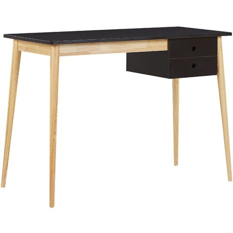 Retro Home Office Desk Black Light Wooden Legs 1 Drawer Study Ebeme