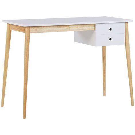 Retro Home Office Desk White Light Wooden Legs 1 Drawer Study Ebeme