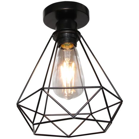 Retro Industrial Ceiling Light,Vintage Ceiling Lamp Metal Cage Ceiling Light for Hallway Stairway Bedroom Kitchen 20 * 20CM(Bulb No Included) (Black)