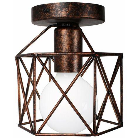 Retro Industrial Lámpara Metal del Techo Luz de Techo al ras ligero para pasillo porche dormitorio(Color óxido)