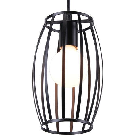 Retro Industrial Pendant Lamp Vintage Chandelier Geometric Cage Hanging Lamp for Bedroom,Living Room,Dining Room,Kitchen Black