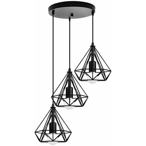 Retro Industrial Pendant Light Black Metal Cage Chandelier Vintage Antique Ceiling Light 20cm Diamond Shape Hanging Light 3 Lights Pendant Lamp