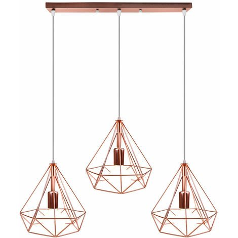 Retro Industrial Pendant Light Nordic Chandelier Diamond Metal Shade 3 Heads Nostalgic Ceiling Light Vintage Pendant Lamp Rose Gold