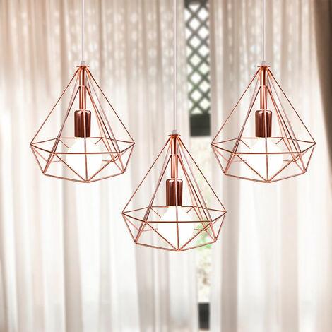 Retro Industrial Pendant Light Nordic Chandelier Diamond Metal Shade 3 Heads Nostalgic Ceiling Light Vintage Pendant Lamp Rose Gold