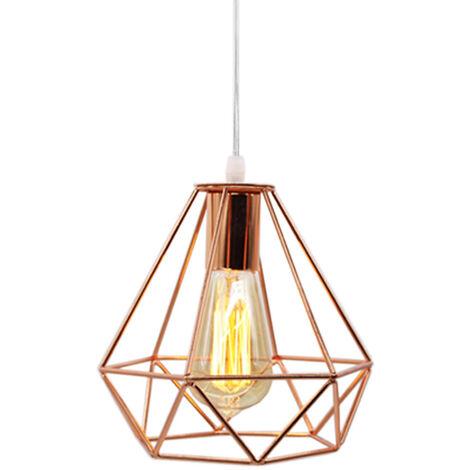 Retro Industrial Pendant Light Rose Gold Modern Vintage Hanging Light 20cm Diamond Chandelier Height Adjustable Pendant Lamp for Living Room Dining Bar Office