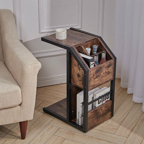 Retro Industrial Sofa Side End Table C-Shaped Snack Drinks Holder Stand Storage