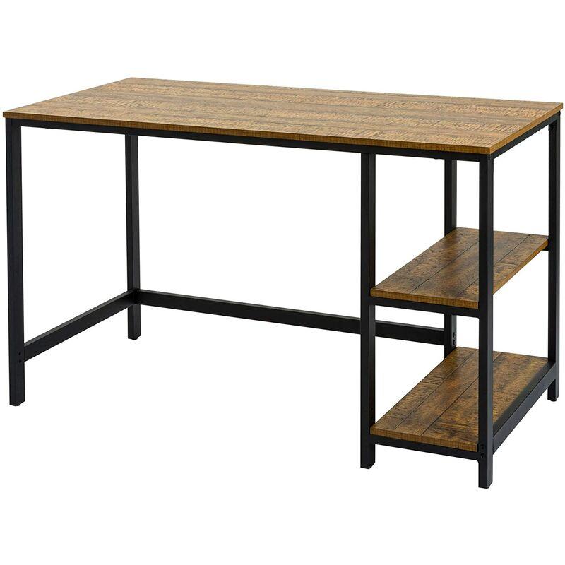 Meerveil - Retro-Industriestil Computertisch, Arbeitstisch, Laptoptisch, Schreibtisch mit zweistufige Regal, mit Holz- und Metallrahmen, 120 X 60 X