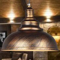 Retro Lámpara Colgante Industrial de 300mm?Lámpara de Techo de Hierro Iluminación E27 Decoración para Sala de estar Cocina Restaurante Bar,Bronce