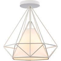 Retro Lámpara Colgante Vintage de jaula forma de diamante 25cm blanco Lámpara de Techo industrial Iluminación Metal Hierro E27
