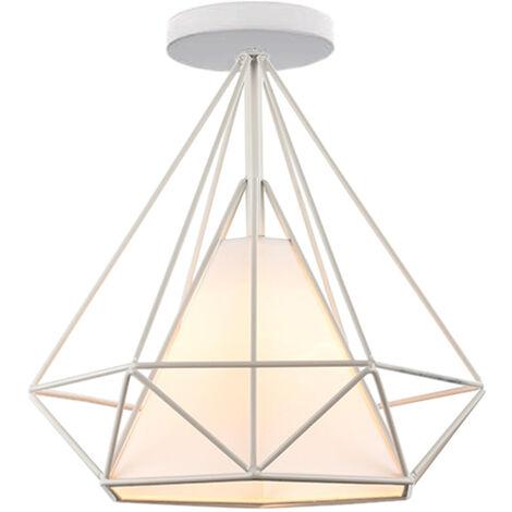 Retro Lámpara Colgante Vintage de jaula forma de diamante 25cm (Blanco)Lámpara de Techo industrial Iluminación Metal Hierro E27
