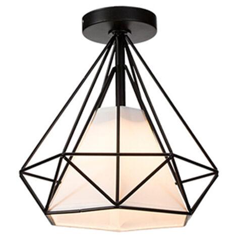 Retro Lámpara Colgante Vintage de jaula forma de diamante 25cm (Negro)Lámpara de Techo industrial Iluminación Metal Hierro E27 para Restaurante Cafe