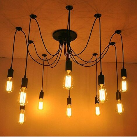 Retro Lámpara de Techo Candelabro Iluminación de Araña con 10 Brazo de Araña para Bombilla E27 Cada Cable Longitud Ajustable de 2.0m para Comedor Hotel (Negro)