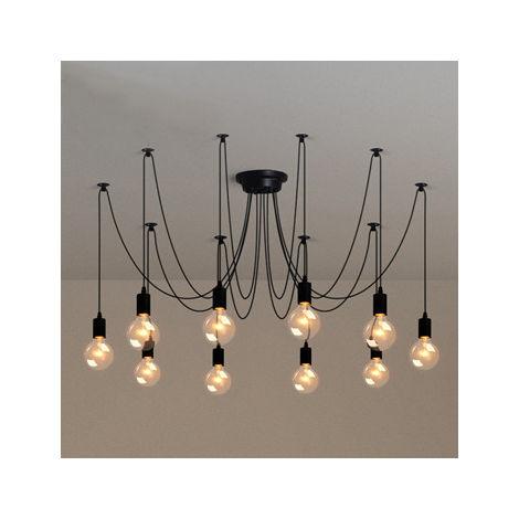 Retro Lámpara de Techo Candelabro Iluminación de Araña con 10 Brazos de Araña para Bombilla E27 Cada Cable Longitud Ajustable de 1.5m (Negro)