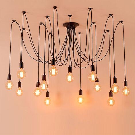Retro Lámpara de Techo Candelabro Iluminación de Araña con 14 Brazos de Araña para Bombilla E27 Cada Cable 200cm Longitud Ajustable (Negro)
