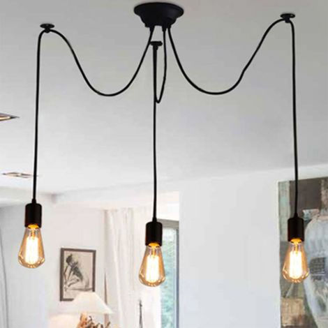 Retro Lámpara de Techo Candelabro Iluminación de Araña con 3 Brazos Adecuadas Bombilla E27 Cada Cable Longitud Ajustable 1.5m (Negro)