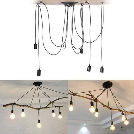 Retro Lámpara de Techo Candelabro Iluminación de Araña con 5 Brazo de Araña para Bombilla E27 Cada Cable Longitud Ajustable de 1.5m para Comedor Hotel (Negro)