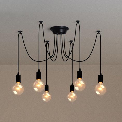 Retro Lámpara de Techo Candelabro Iluminación de Araña con 6 Brazo de Araña para Bombilla E27 Cada Cable Longitud Ajustable de 1.5m para Comedor Hotel (Negro)