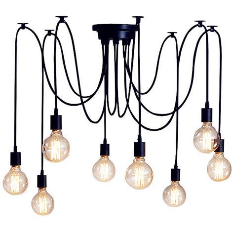 Retro Lámpara de Techo Candelabro Iluminación de Araña con 8 Brazo de Araña para Bombilla E27 Cada Cable Longitud Ajustable de 2.0m (Negro)
