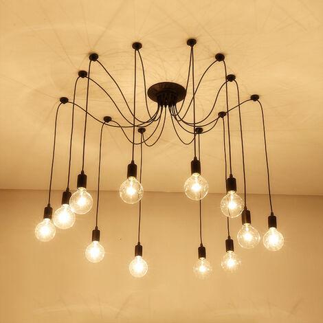 Retro Lámpara de Techo con 12 Brazos de Araña para Bombilla E27 Cada Cable Longitud Ajustable de 2.0m (Negro)