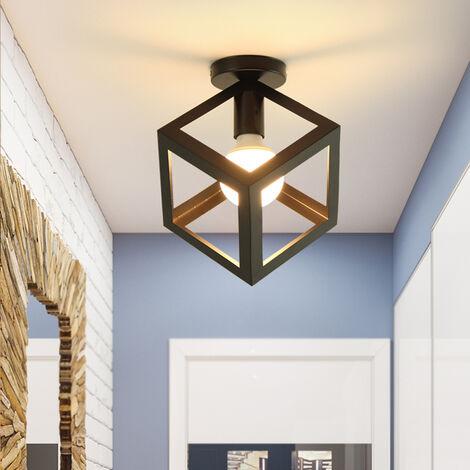 Retro Lámpara de Techo Vintage Industrial con diseño de jaula cuadrada Metal iluminación E27 (Negro)para Pasillo Porche Dormitorio Sala Cafetería Bar