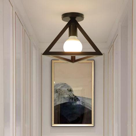 Retro Lámpara de Techo Vintage Industrial con diseño de Triángulo Metal iluminación E27 (Negro)para Pasillo Porche Dormitorio Sala Cafetería Bar