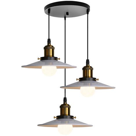 Retro Lámpara Industriales de araña Iluminación de techo 3 E27 Para restaurante de dormitorio de sala de estar (Blanco)Sin bombilla)