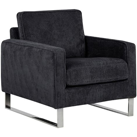 Retro Living Room Corduroy Armchair Track Arms Metal Legs Black Vind