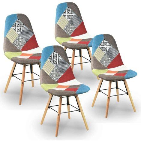 RETRO - Lot de 4 chaises scandinaves patchwork