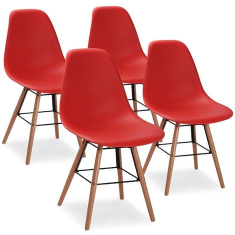 RETRO - Lot de 4 chaises scandinaves rouges
