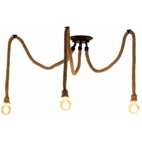 Rétro Lustre Suspension Araignee Corde de Chanvre avec 3 Bras E27 Douille, Industriel Lampe DIY 2.0m Fil Longueur Ajustable Luminaire Décoration Chambre Restaurant Bar