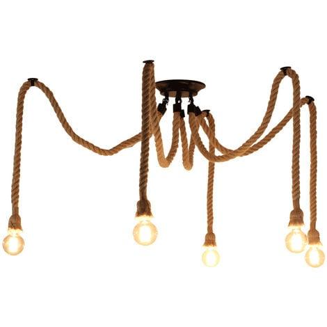 Rétro Lustre Suspension Araignee Corde de Chanvre avec 5 Bras E27 Douille, Industriel Lampe DIY 2.0m Fil Longueur Ajustable Luminaire Décoration Chambre Restaurant Bar