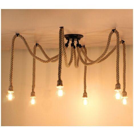 Rétro Lustre Suspension Araignee Corde de Chanvre avec 6 Bras E27 Douille, Industriel Lampe DIY 2.0m Fil Longueur Ajustable Luminaire Décoration Chambre Restaurant Bar