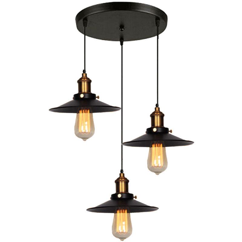 Retro Lustre Suspension Industrielle 3 Lumieres Plafonnier Abat jour Metal Luminaire pour Salle a Manger Couloir Chambre