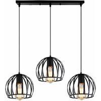 Retro Lustre Suspension Industrielle Cage Ajustable-Luminaire Salle à Manger Bar (Ampoule non incluse)
